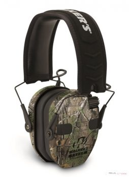 RAZOR SLIM ELECTRONIC QUAD MUFF - REALTREE XTRAFEATURES Ultra Low Profile Ear Cups Rubberized Coating Four Hi Gain Omni Directional Microphones Low Noise / Frequency tuned for natural sound clarity Vo
